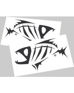 """G. Loomis Skeleton Fish 17"""" Black Boat Decal Set"""