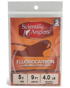 Scientific Angler Premium Fluorocarbon Leaders 9' Freshwater/Saltwater 2 Pack 9 ft Fluorocaron - 0X - Clear