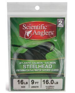 """Scientific Angler Premium Freshwater Leaders - 12'0"""" Steelhead/Atlantic Salmon/Salmon With Loop 2 Pack 12 ft - 16# - Clear"""