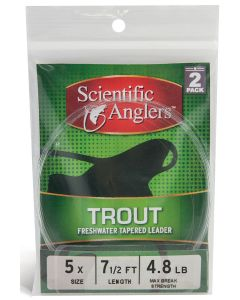 Scientific Angler Premium Freshwater Leaders - 7 1/2' Trout With Loop 2 Pack 7 1/2 ft - 3X - Clear